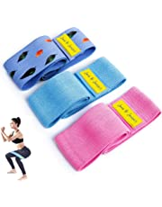 June & Juniper Resistance Booty Bands Set: 3+1 Non-Slip Fabric Bands for Butt Leg & Arm Workout. Perfect Gym Home & Travel Hip Bands. Exercise Program and Carry Bag Included.