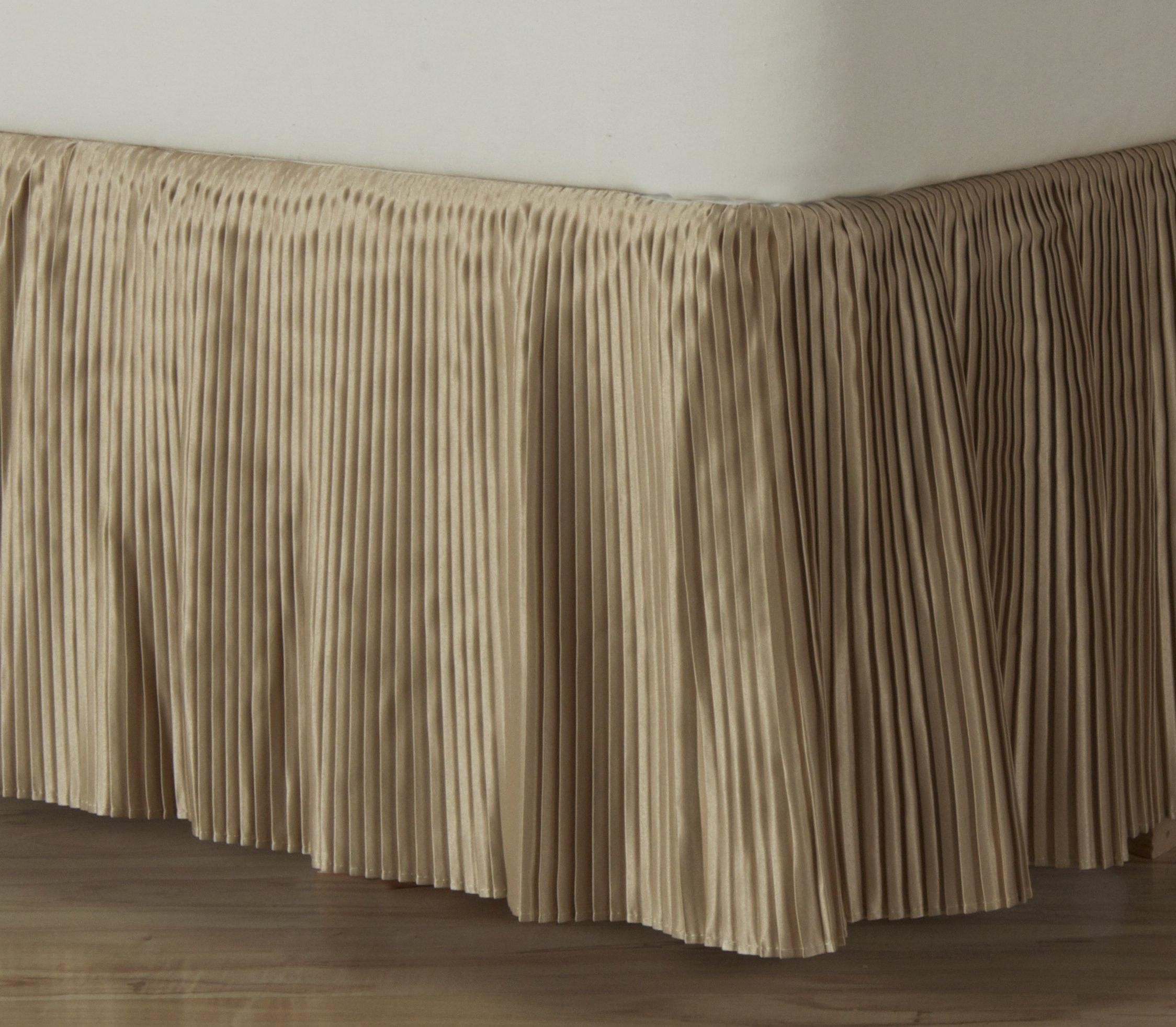 D. Kwitman & Son Hyde Park Dust Ruffle 18'' Drop Bed Skirt, Queen, Gold