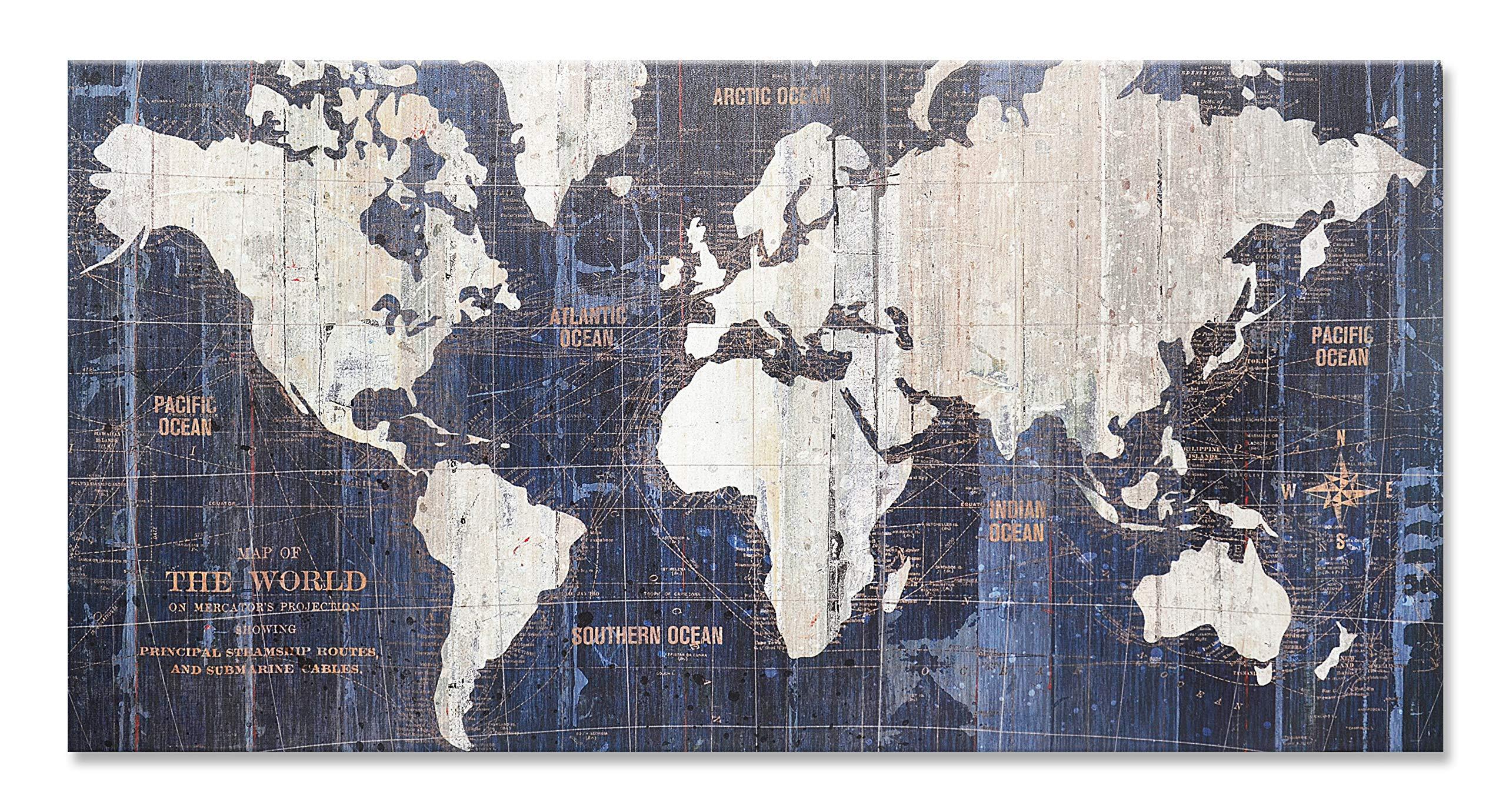 Homekor Old World Map - Travel Map Wall Art Canvas 40 x 20