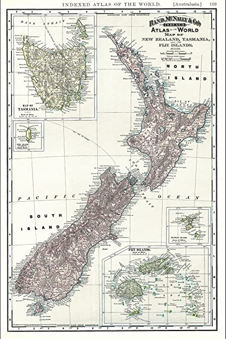 Amazon Com Historical 1892 Rand Mcnally Map Of New Zealand