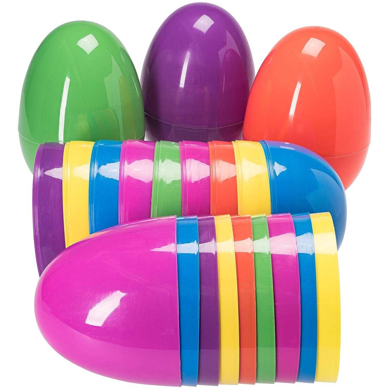 amazon com jumbo 7 inch assorted colors easter eggs 12pk toys