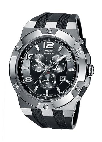 Sandoz 81289-01 - Reloj de caballero de cuarzo, correa de goma color negro: Amazon.es: Relojes