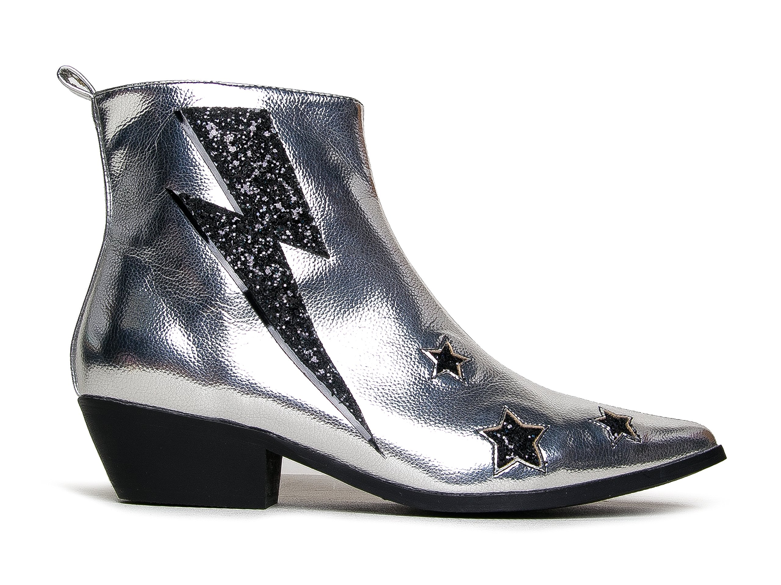 YRU Laso Western Ankle Boots - Lightening Bolt Cowboy Metallic Pointed Toe Boots