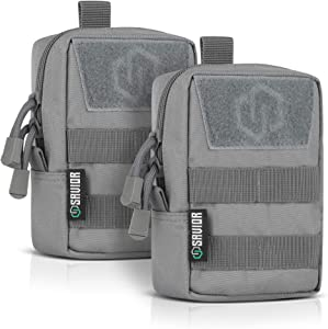 Savior Equipment Tactical Lightweight EDC Molle Pouches Versatile Compact Accessory Utility Tool Organizer Belt Waist Bag, 2-Pack