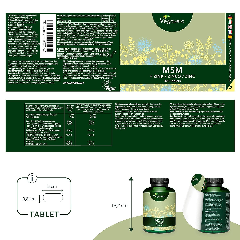 VEGAVERO® MSM + Zinc | 300 Tablets, 1,000 mg MSM