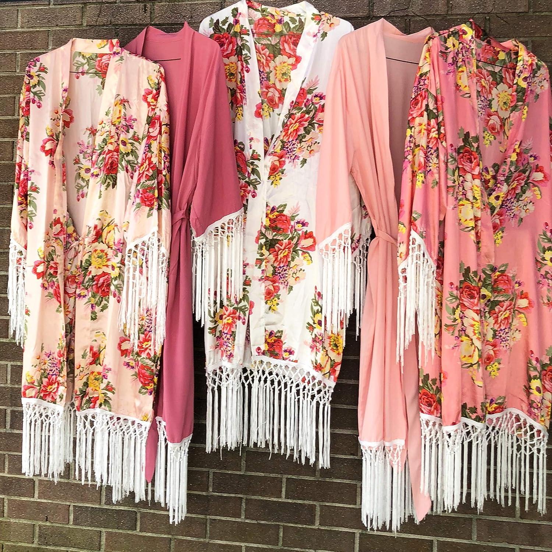Shop On Eleven Fringe Bridesmaid Robe Boho Kimono