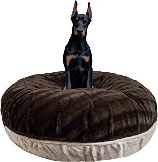 product image for Bessie and Barnie Signature Godiva Brown/ Natural Beauty Extra Plush Faux Fur Bagel Pet / Dog Bed (Multiple Sizes)