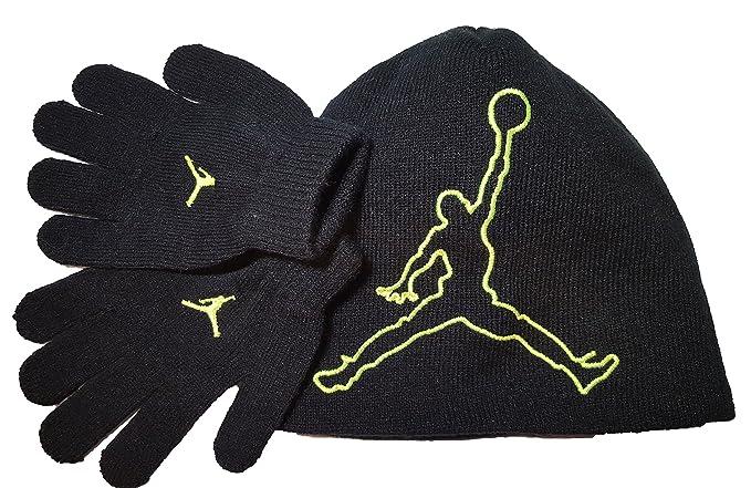 cb725d40ee3 Nike Jordan Jumpman 23 Black Green Beanie Hat Glove Gift Set 8A1554 Sz Ages  8