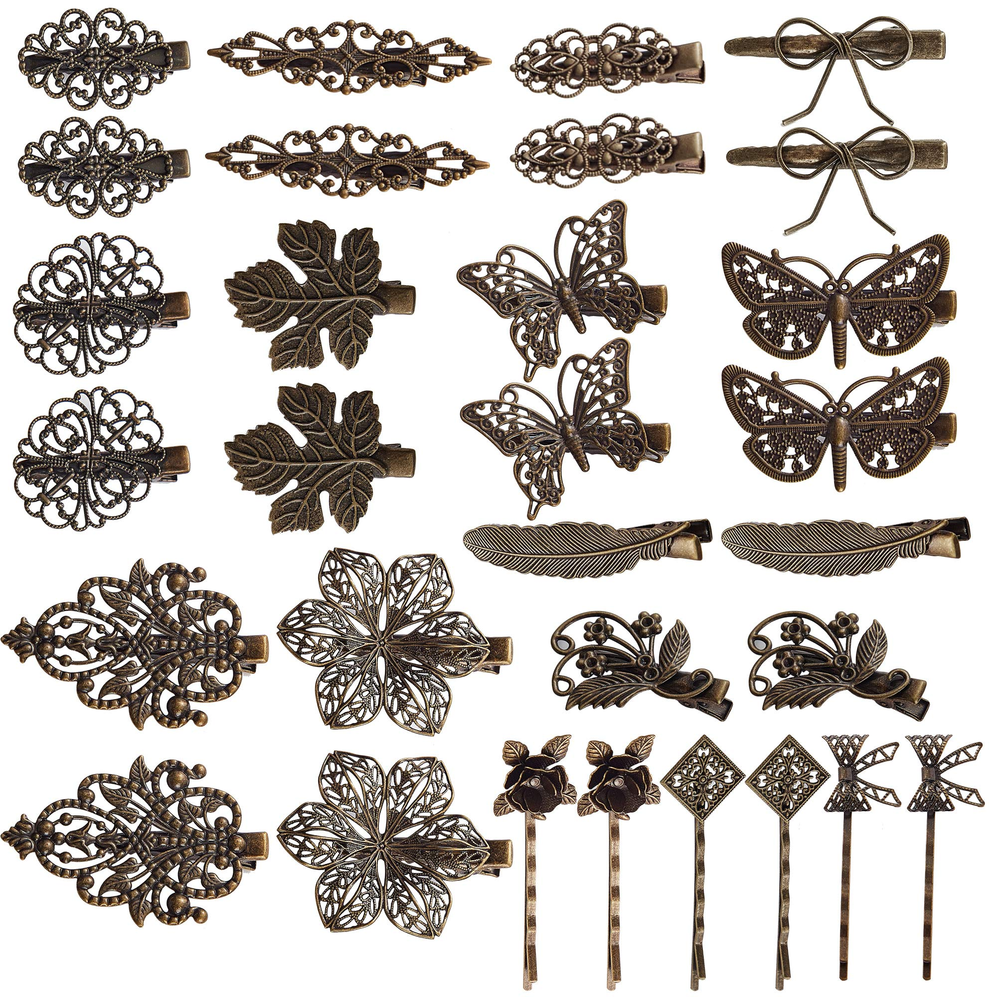 inSowni 30 Pack/15 Pairs Bronze Metal Retro Vintage Alligator Hair Clips Barrettes Bobby Pins Leaf Flower Butterfly Accessories for Women Girls