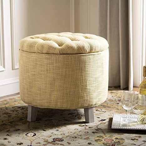 Stupendous Safavieh Amelia Tufted Storage Ottoman Gold Gmtry Best Dining Table And Chair Ideas Images Gmtryco