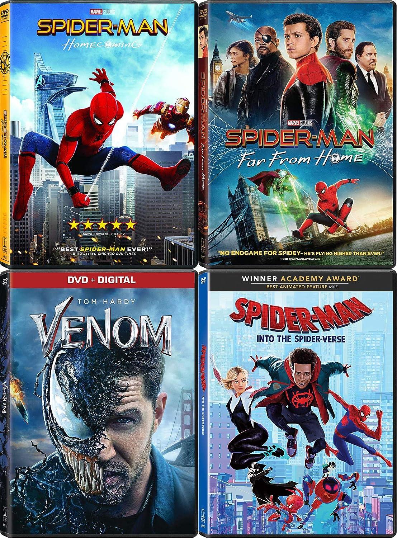 Far Spidey Home The Spider Movie Collection Into the Spider-Verse + Spider-Man Homecoming + Far From Home & Venom 4 Marvel DVD Set