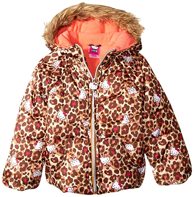 dcbc15fbd Hello Kitty Girls' Big Printed Puffer Jacket with Fur Trim Hood, Leopard 10