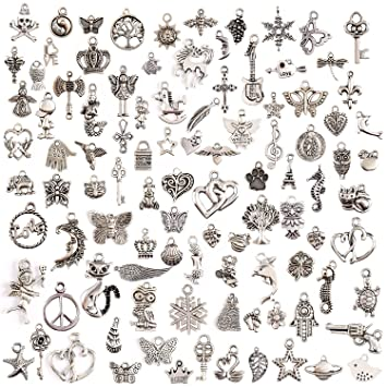 Amazon wholesale 50pcs bulk lots tibetan silver plated mixed wholesale 50pcs bulk lots tibetan silver plated mixed pendants charms jewelry aloadofball Choice Image