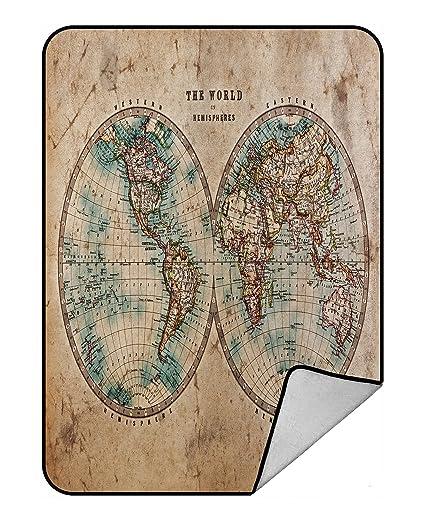 Amazon custom global map blanket vintage retro style old world custom global map blanket vintage retro style old world map from 1800s for geography and gumiabroncs Images