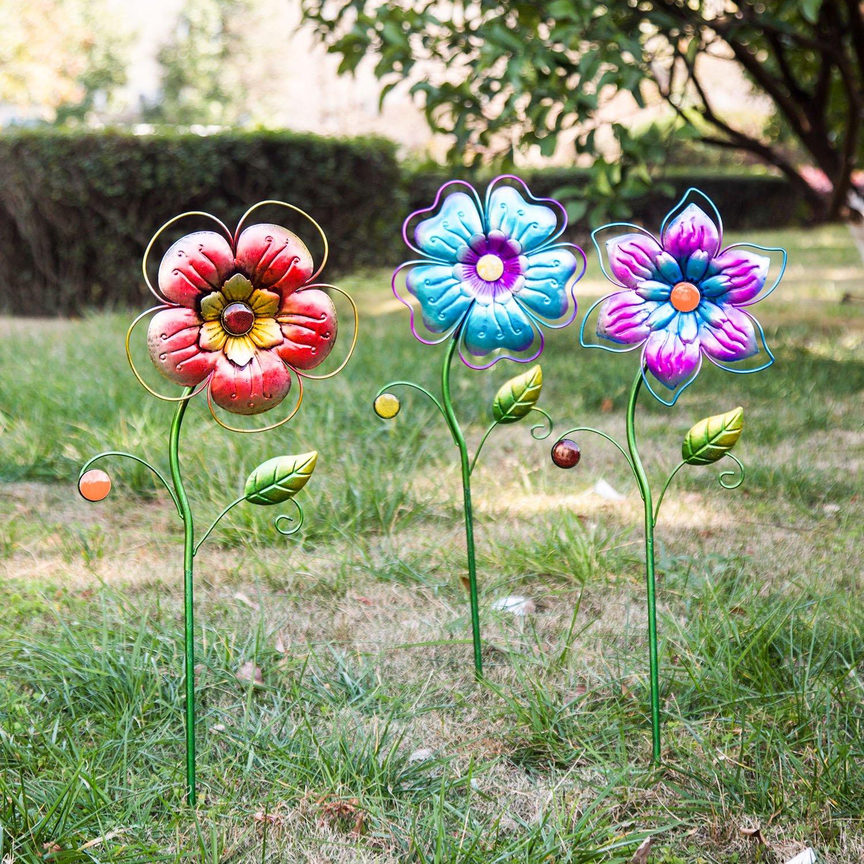 Spring Has Sprung Flower Outdoor Garden Stake, 3 Assorted
