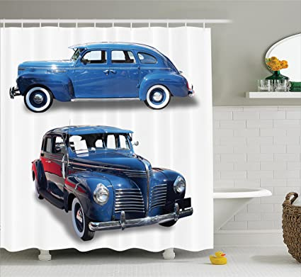 Ambesonne Old Car Decorations Shower Curtain Set Picture Of Antique Cars Historic Automobile Nostalgic