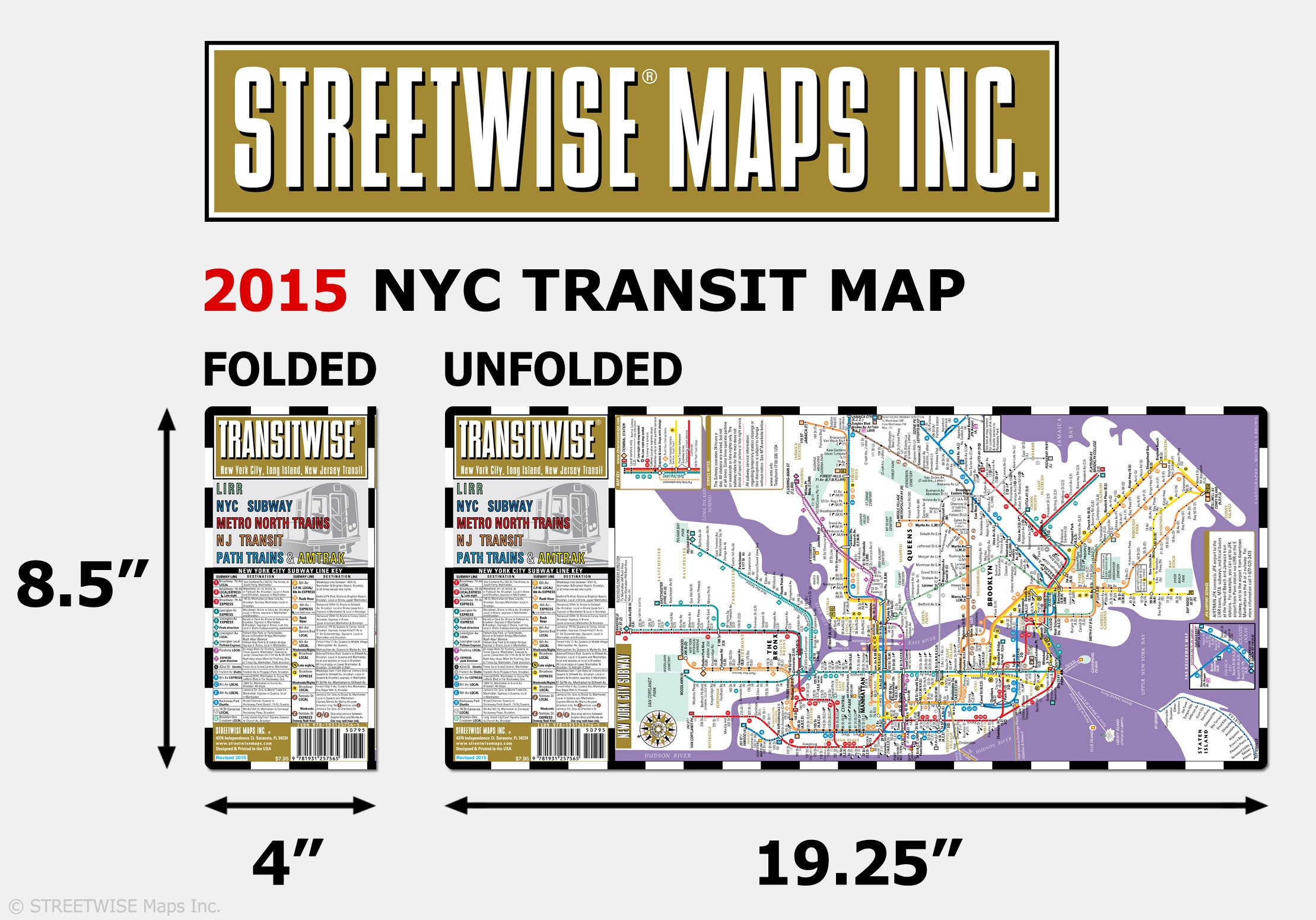 Streetwise Transitwise New York New Jersey Transit Map LIRR NYC - Nyc unfolds map