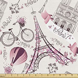 Lunarable City Love Fabric by The Yard, Iconic Elements of Paris Hearts on The Eiffel Tower and a Bicycle, Decorative Fabric for Upholstery and Home Accents, 1 Yard, Purple Pink