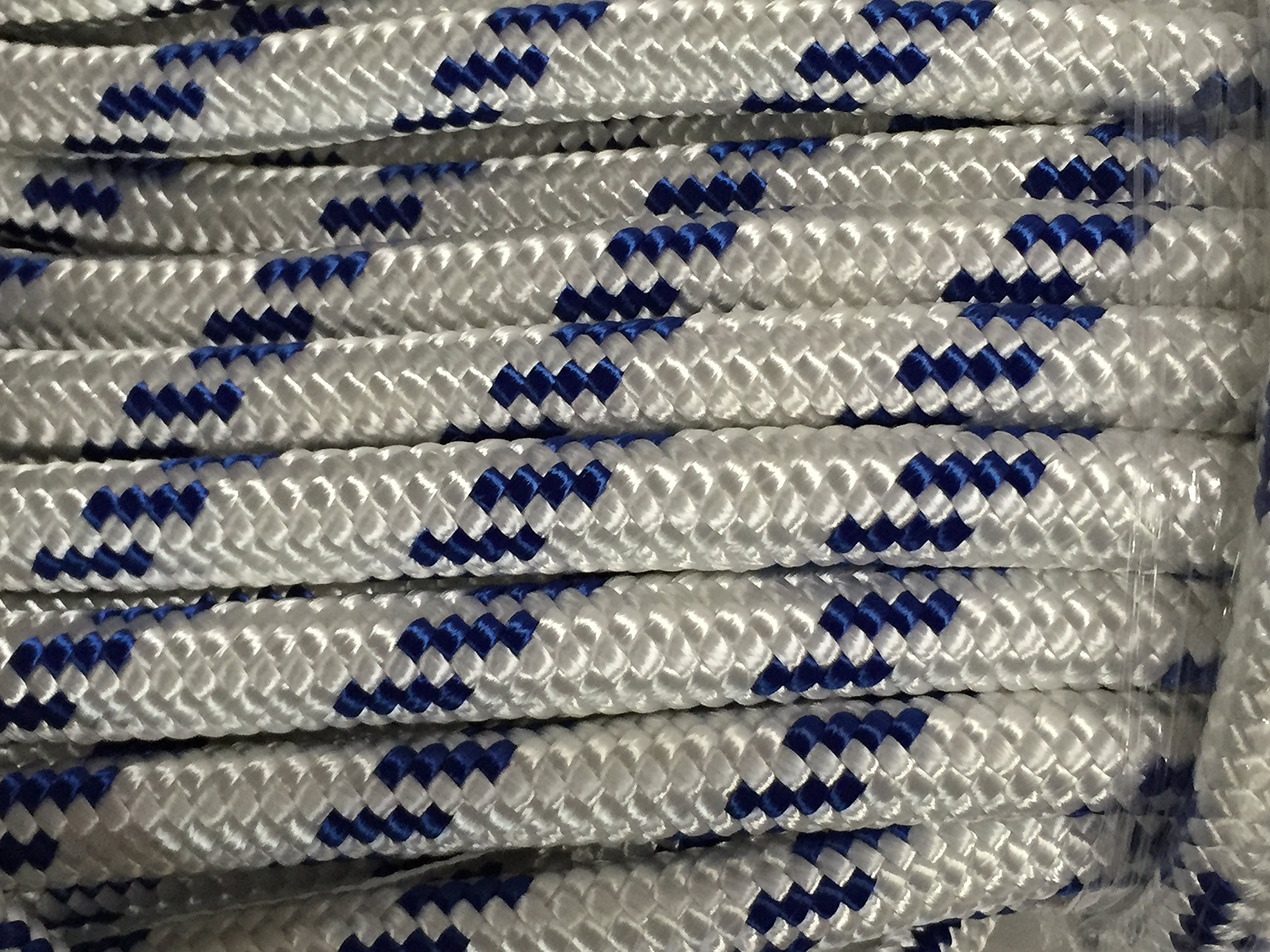 3/4'' X 200' Double Braid Polyester Arborist Bull Rope, White/blue by Blue Ox Rope (Image #1)