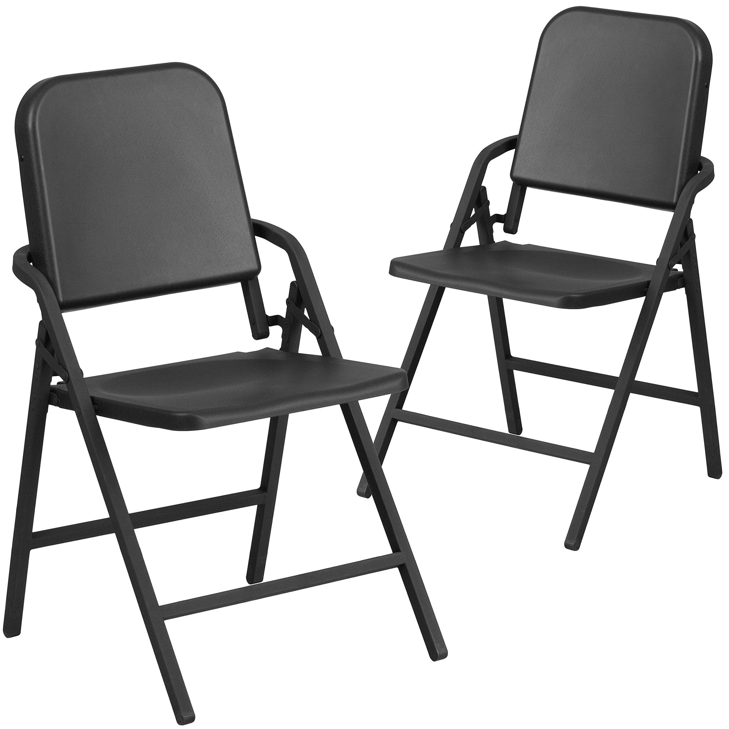 Flash Furniture 2 Pk. HERCULES Series Black High Density Folding Melody Band/Music Chair