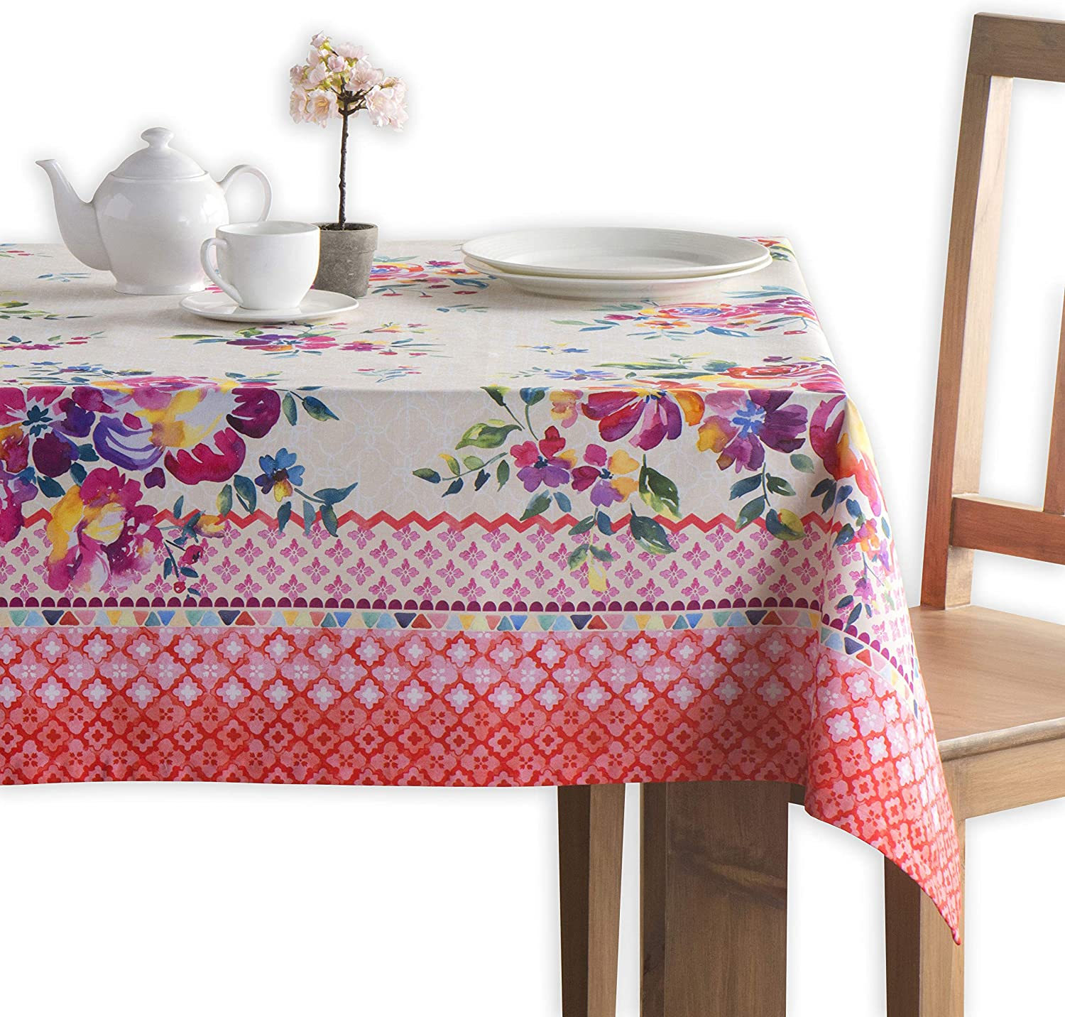 Maison d' Hermine Rose Garden 100% Cotton Tablecloth for Kitchen Dining | Tabletop | Decoration | Parties | Weddings | Spring/Summer (Square, 60 Inch by 60 Inch)