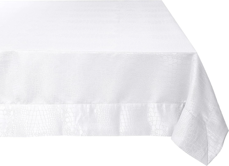 Violet Linen Luxurious Damask Crocodile Design Tablecloths, 80