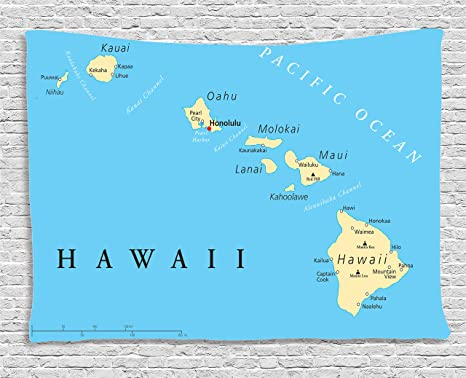 Amazon Com Ambesonne Hawaiian Decorations Collection Map Of Hawaii