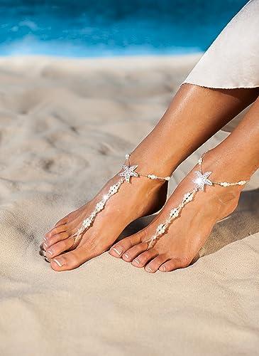 5d08d79fb714e4 Amazon.com  Maldives Beach wedding barefoot sandals Bridal foot jewelry  Starfish barefoot sandals Bridal shoes Footless sandals White Anklet Toe  ring  ...