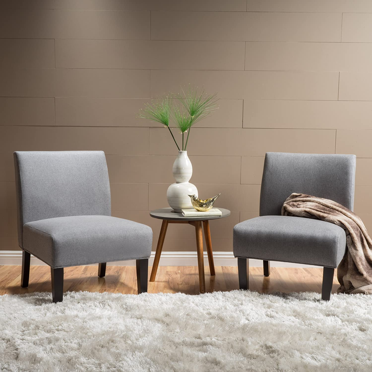 Amazon Com Christopher Knight Home Kendal Grey Fabric Accent Chair Set Of 2 Two Home Kitchen