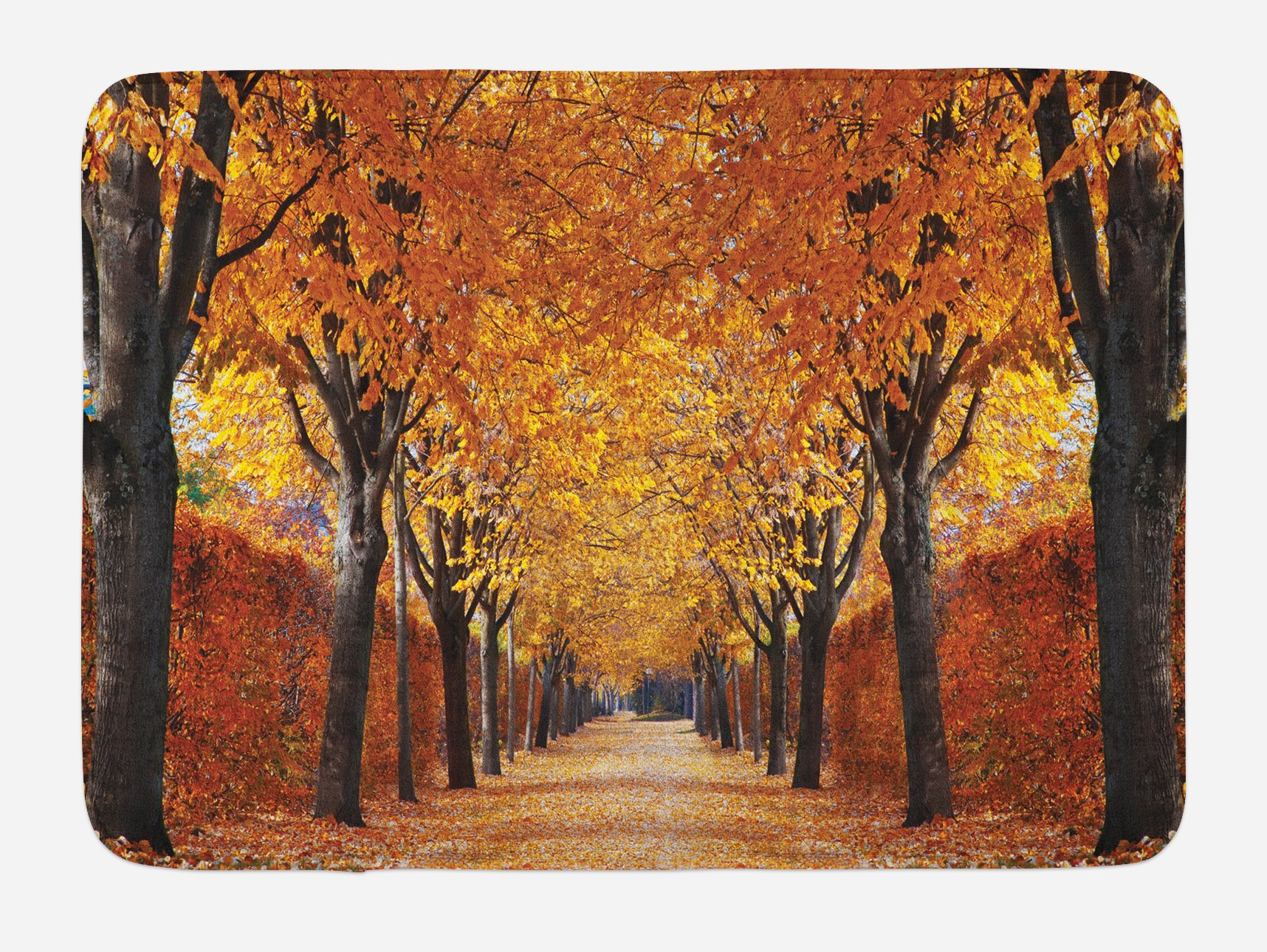 Ambesonne Autumn Bath Mat, Pathway in The Woods Covered with Dried Deciduous Tree Leaves Romantic Fall Season, Plush Bathroom Decor Mat with Non Slip Backing, 29.5 W X 17.5 W Inches, Orange Brown