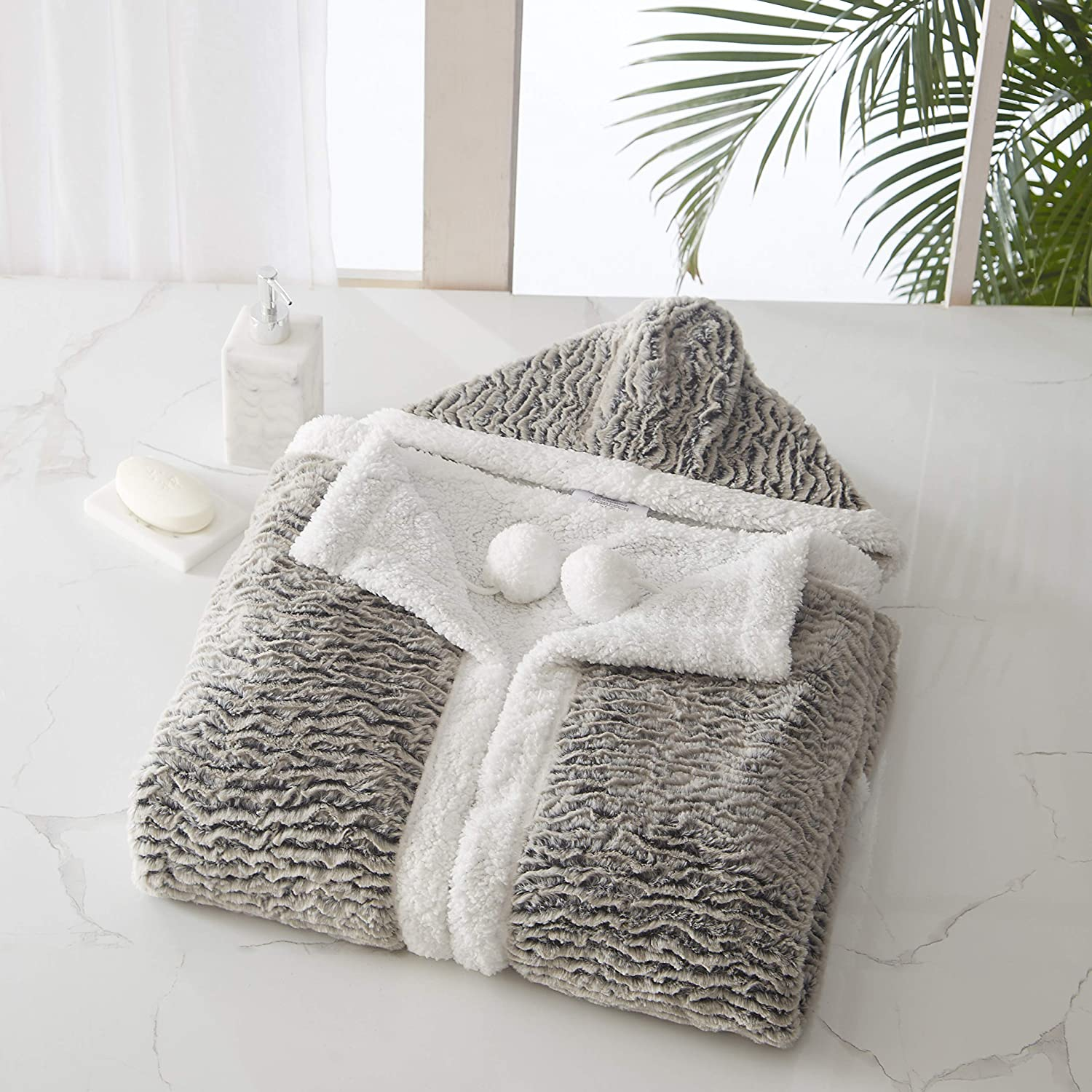 """Chic Home Brighton Snuggle Hoodie Animal Pattern Robe Cozy Super Soft Ultra Plush Micromink Coral Fleece Sherpa Lined Wearable Blanket with 2 Pockets Hood Drawstring Closure, 51"""" x 71"""""""