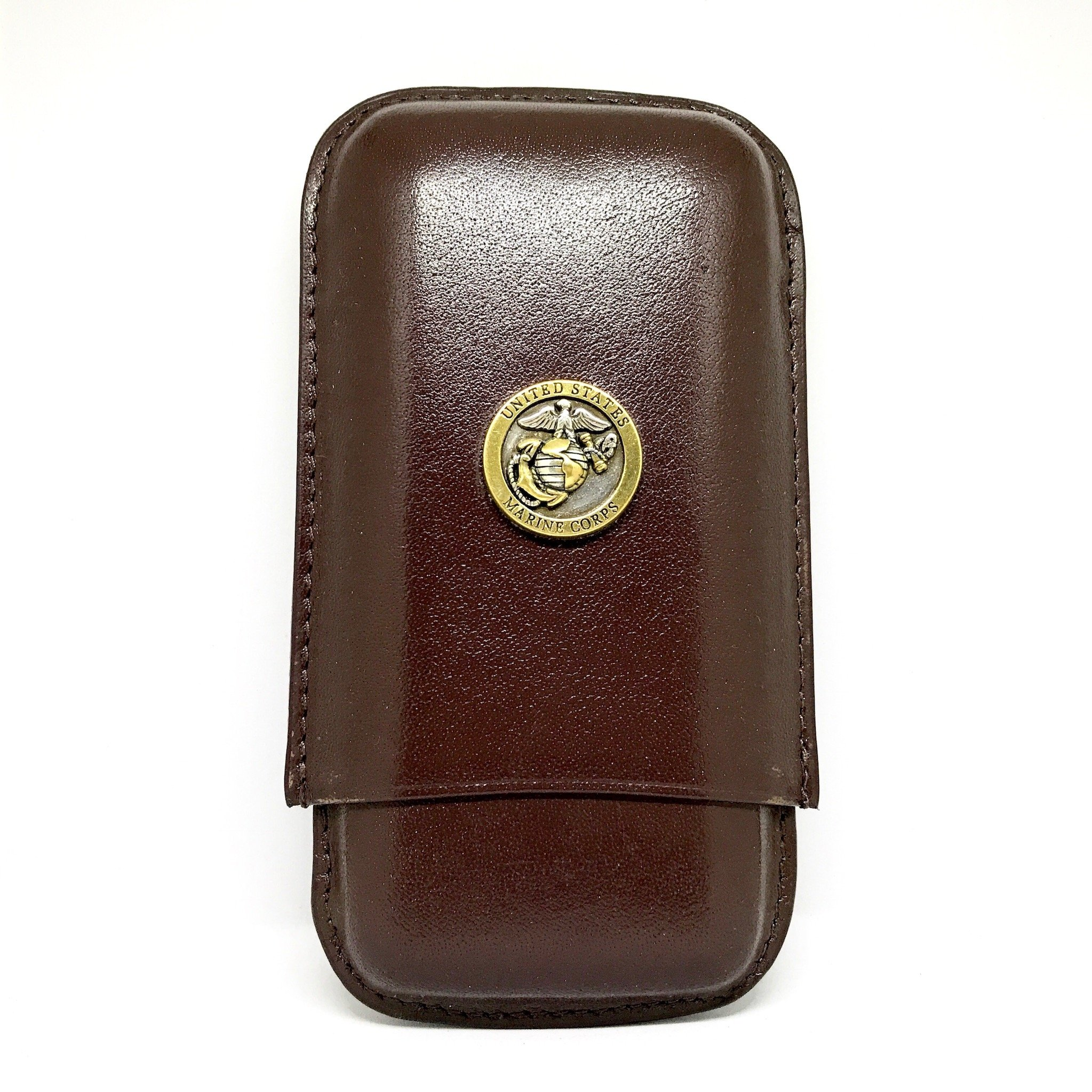 Genuine Leather US Marines Cigar Case 3-Finger with 3 Cigar Holders - Pocket-Sized Cigar Case for Travel, Gifts for Men by Cigar Cutters by Jim (Brown)