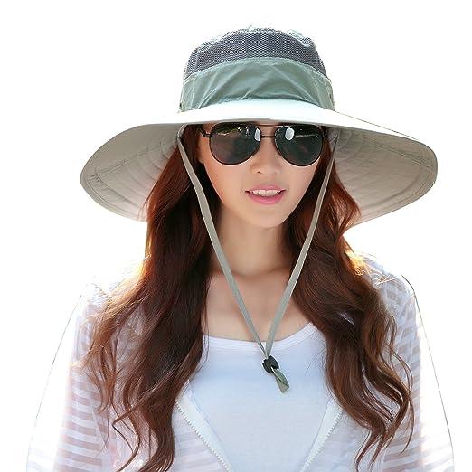 LGLR Sun Hats for Women Wide Brim Summer Beach Sun Hat Foldable UV Fishing  Cycling Visor 5a47c416dd0