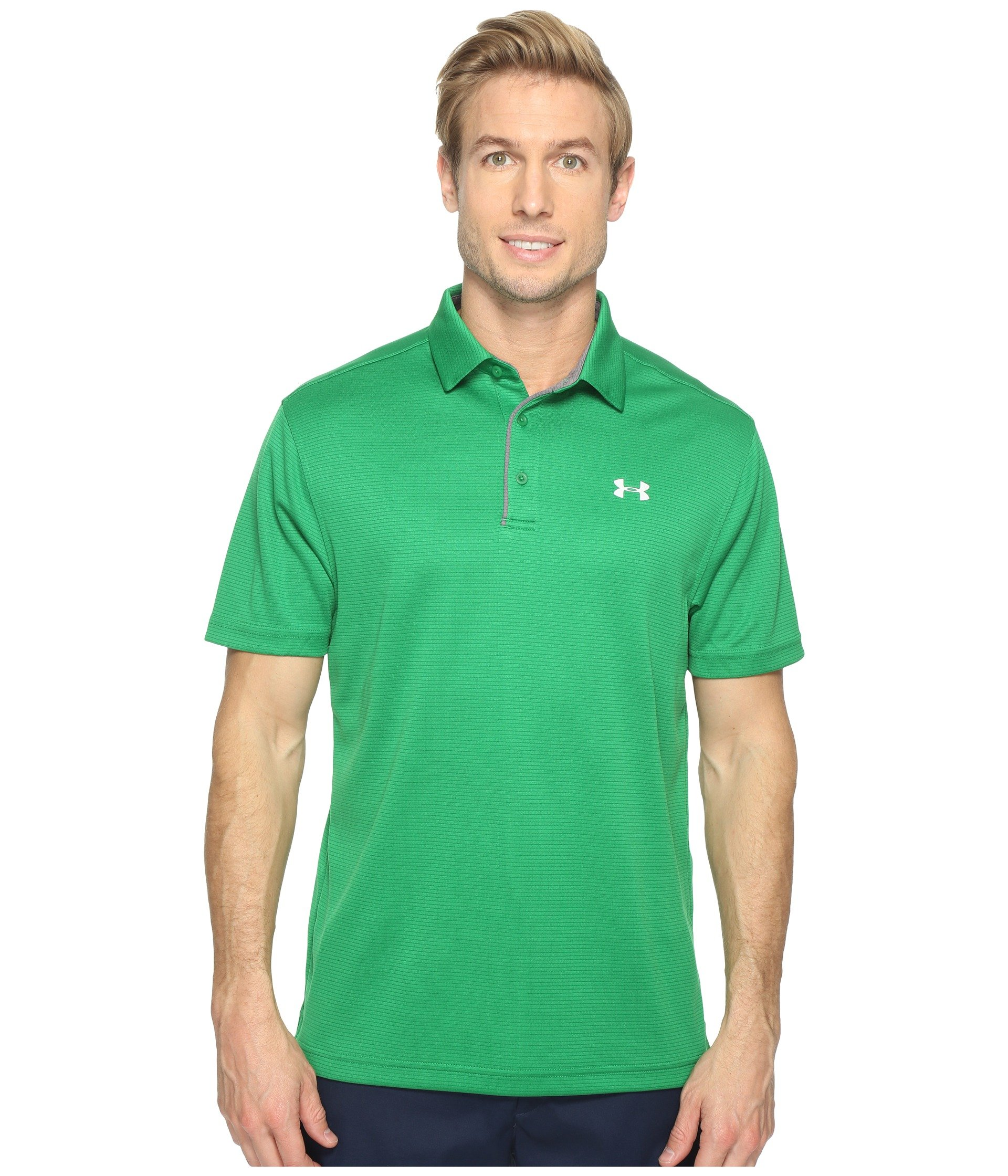 Under Armour Men's Tech Polo, Shock (388)/Glacier Gray, Small by Under Armour