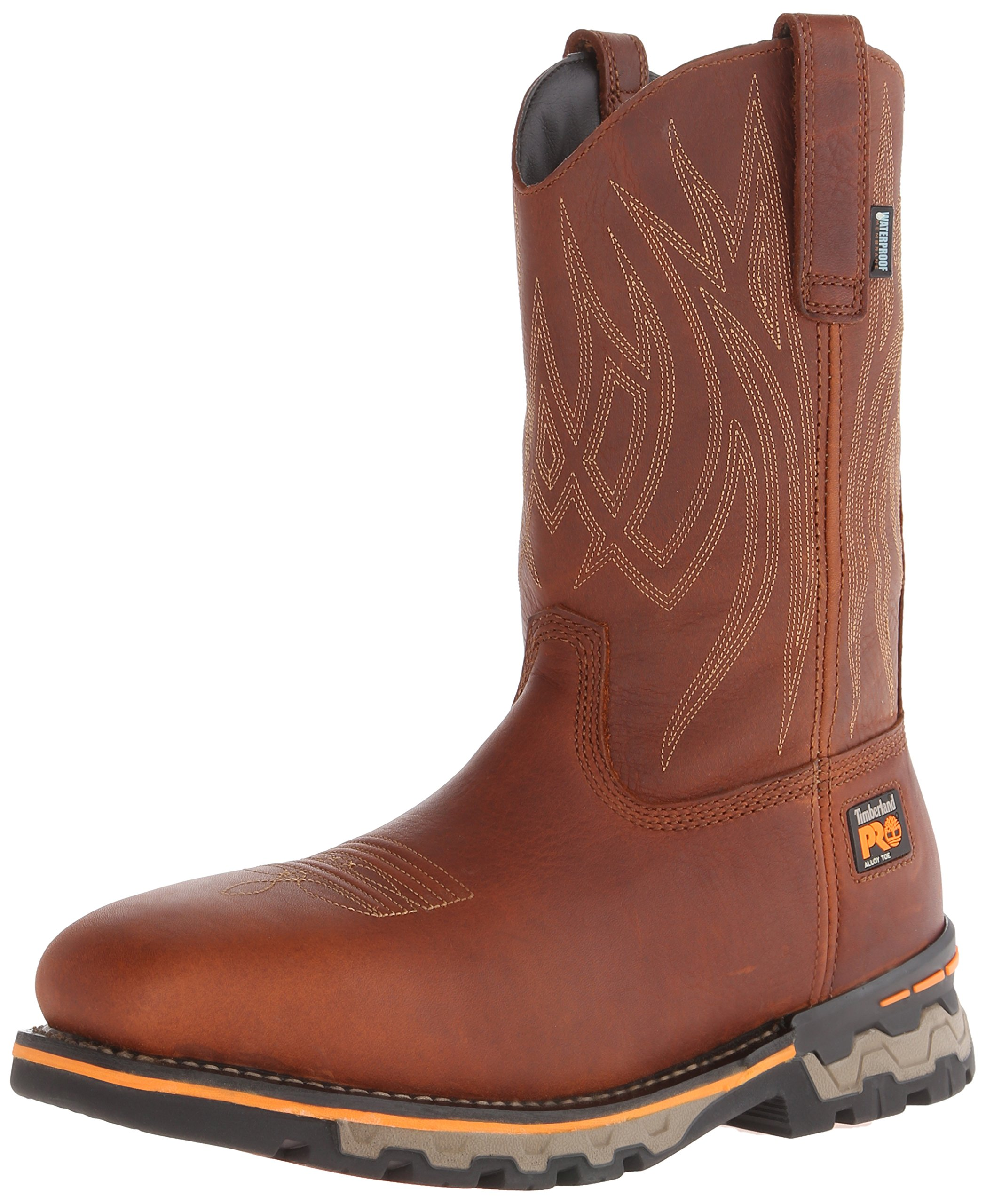 Timberland PRO Men's AG Boss Pull-On Alloy SQ Toe Work and Hunt Boot, Red/Brown Full Grain Leather, 7.5 W US by Timberland PRO