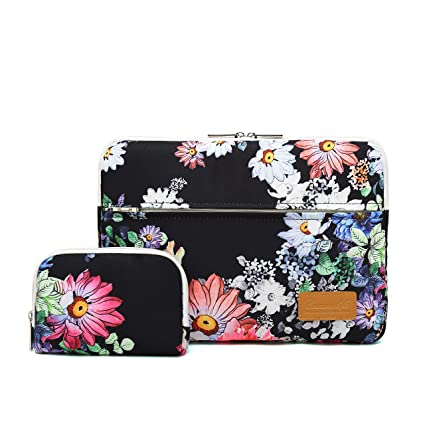 ef345895c96f Canvaslife Black Chrysanthemum Pattern 360 Degree Protective 13 inch Canvas  Laptop Sleeve with Pocket 13 Inch 13.3 Inch Laptop Case