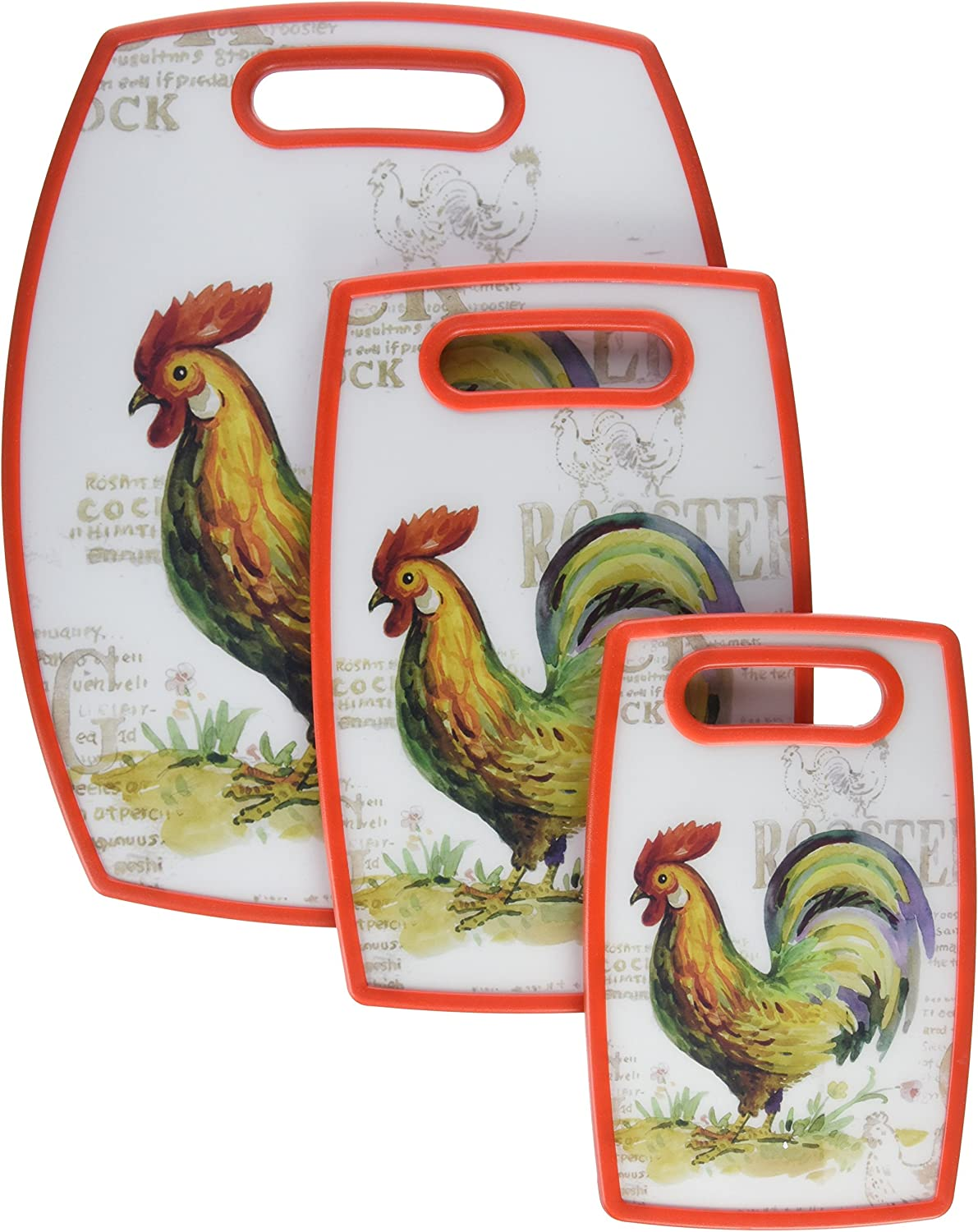 Cuisinart CCB-3PCROS 3-Piece Rooster Cutting Board Collection