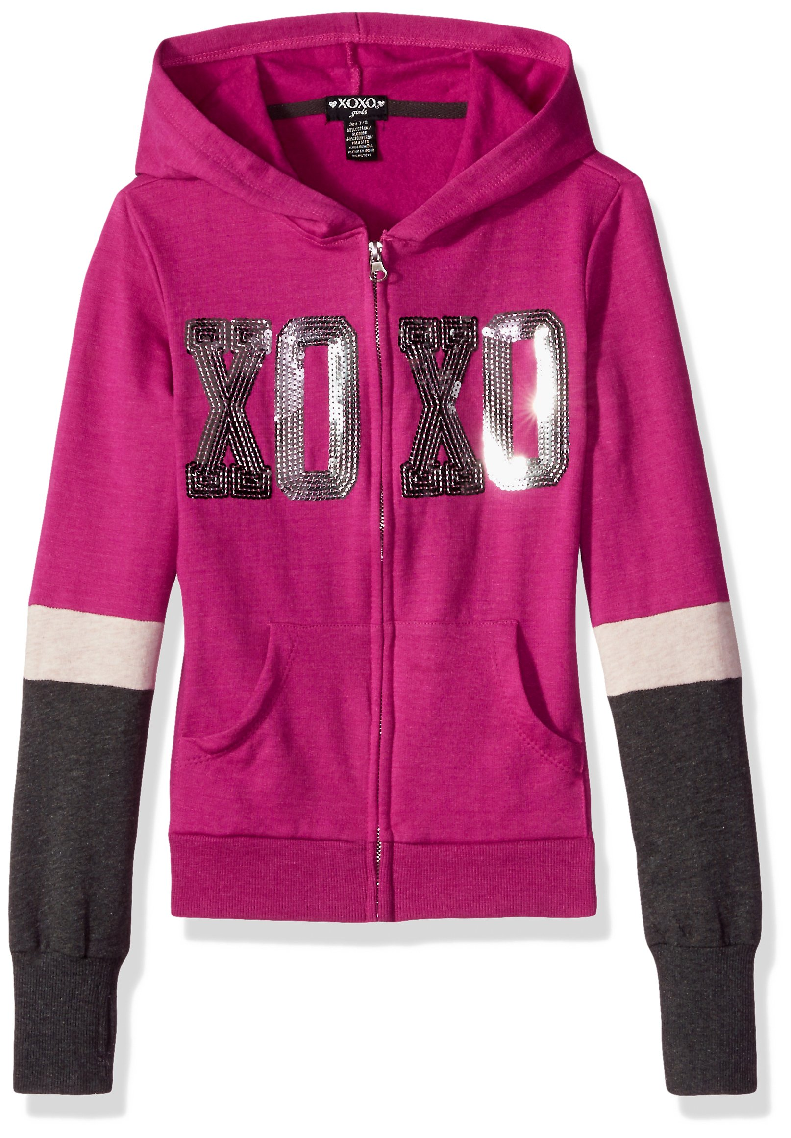 XOXO Big Girls' Fleece Logo Hoodie, Berry/Charcoal, 7/8