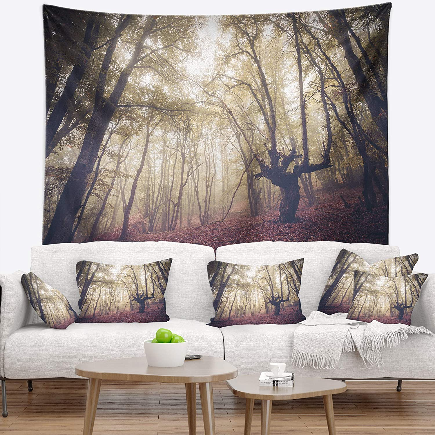 x 68 in Designart TAP8474-80-68  High Rise Trees in Forest Landscape Photography Blanket D/écor Art for Home and Office Wall Tapestry x Large 80 in Created On Lightweight Polyester Fabric