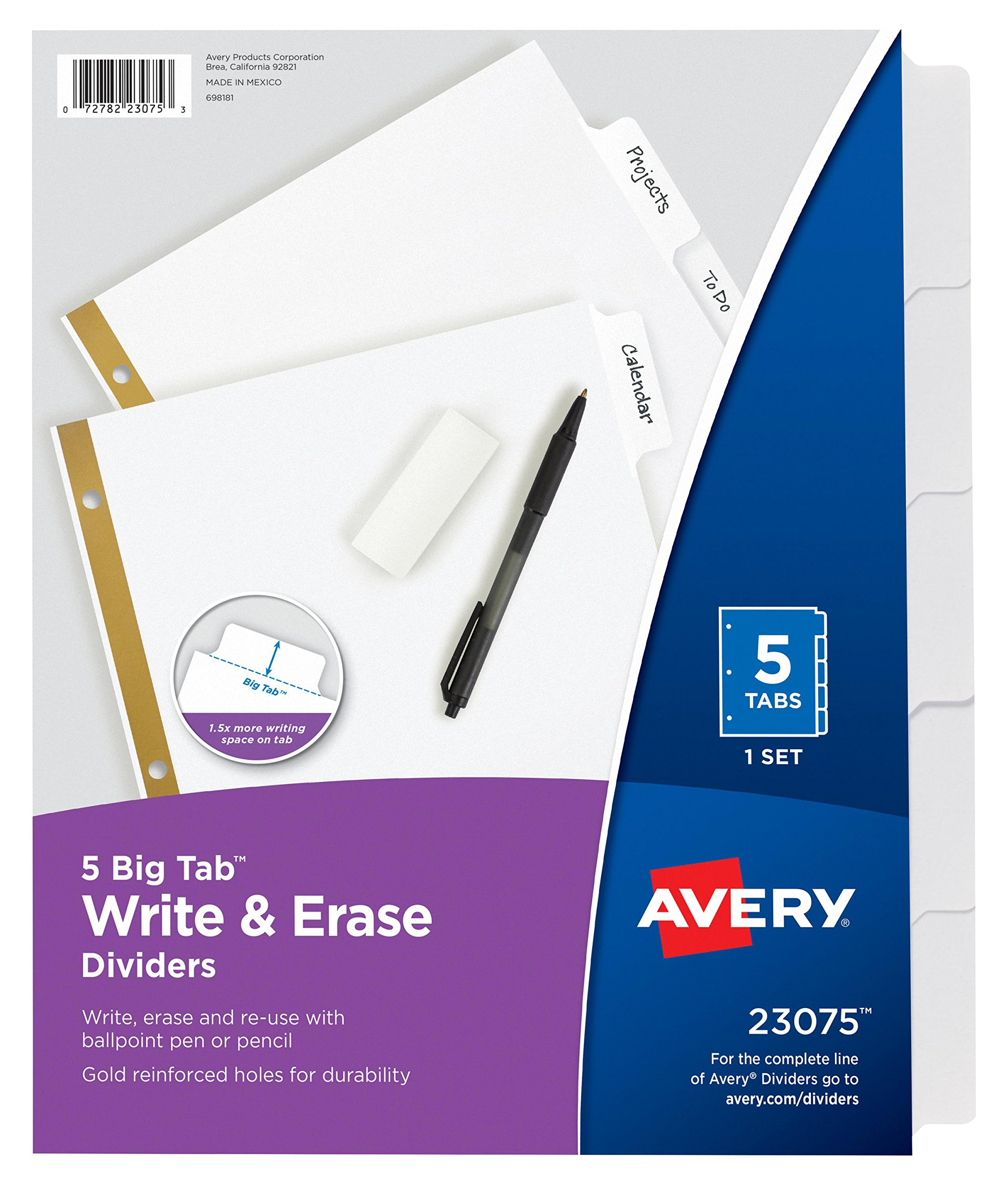 Avery Big Tab Write & Erase Dividers, 5 White Tabs, Case Pack of 48 Sets (23075)