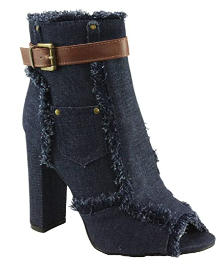 Women's Sherry-10 Peep-Toe Denim Fabric Ankle-High Block High Heel Booties