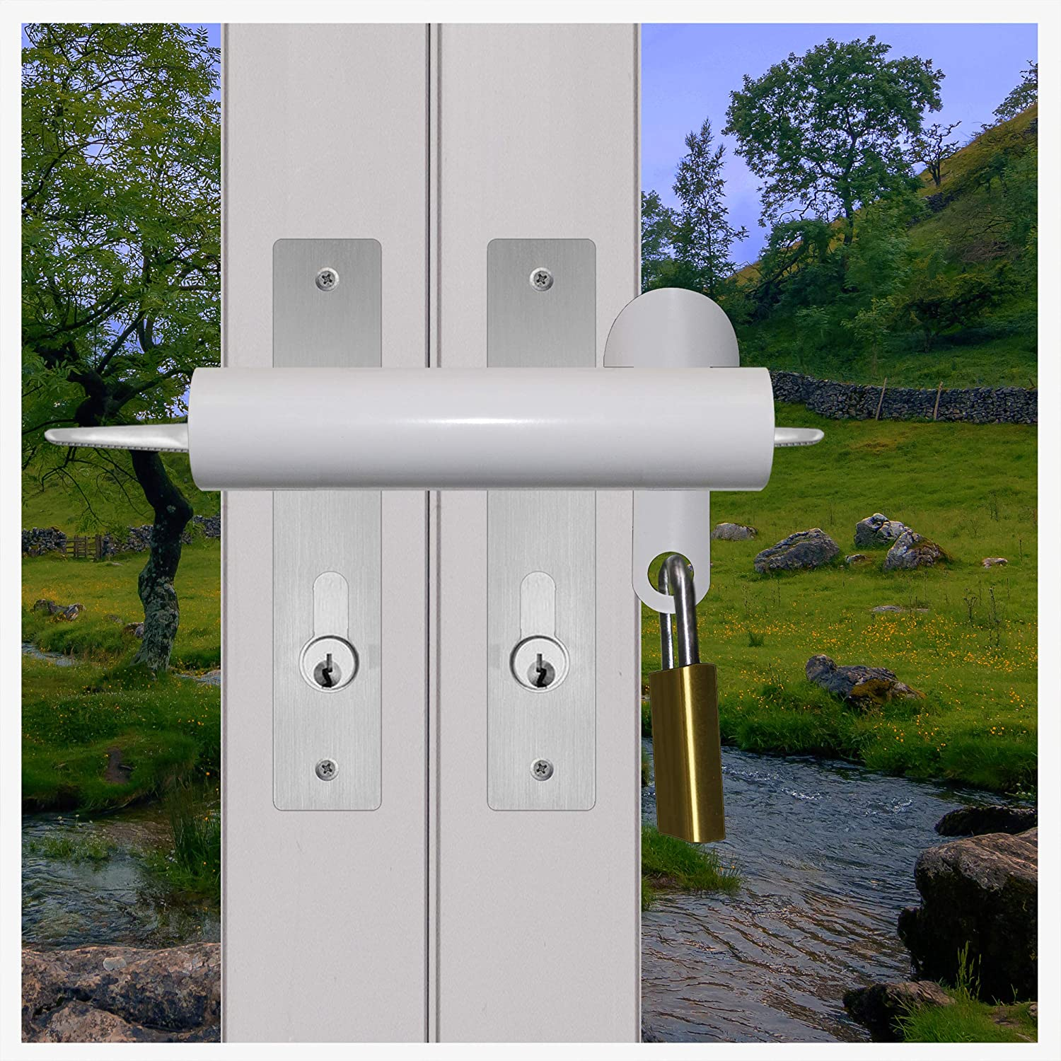 Patio French Door Lock 'SHORT DELUXE' High Security Deadlock Sliding Fix Bar Seen from Outside Tough and Easy EASYLIFETOOLS