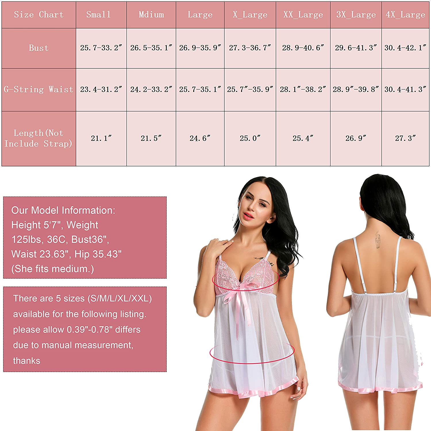 Avidlove Women's Lingerie Lace Babydoll Strap Chemise Mesh Sleepwear Outfits at  Women's Clothing store