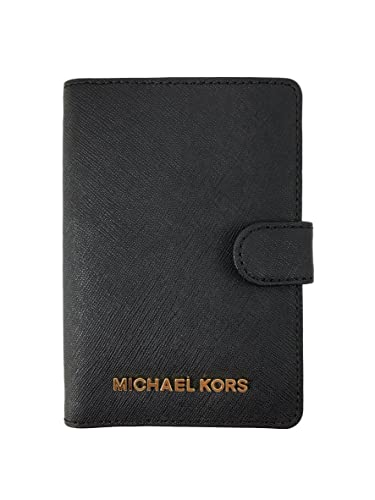 efc930a1f2bd Michael Kors Jet Set travel Leather Passport Case Cover Wallet in Black:  Amazon.co.uk: Clothing