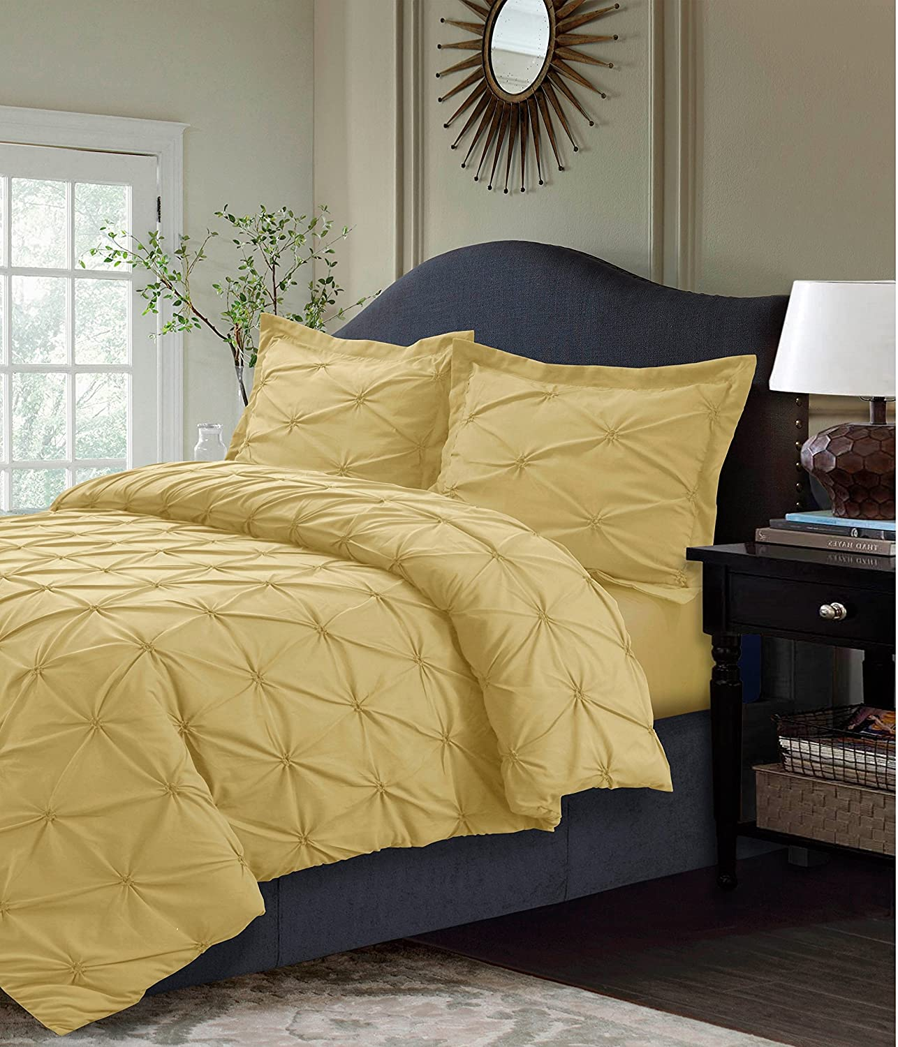 3 Piece Golden Yellow Pinch Pleated Duvet Cover Queen Set