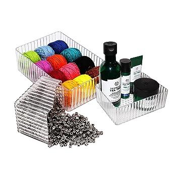 Cajas de Almacenamiento (3 piezas) - Acrílico Cajas de Sobremesa Organizador para Maquillaje, Belleza y Arte Productos - Organizadores de Cosméticos: ...