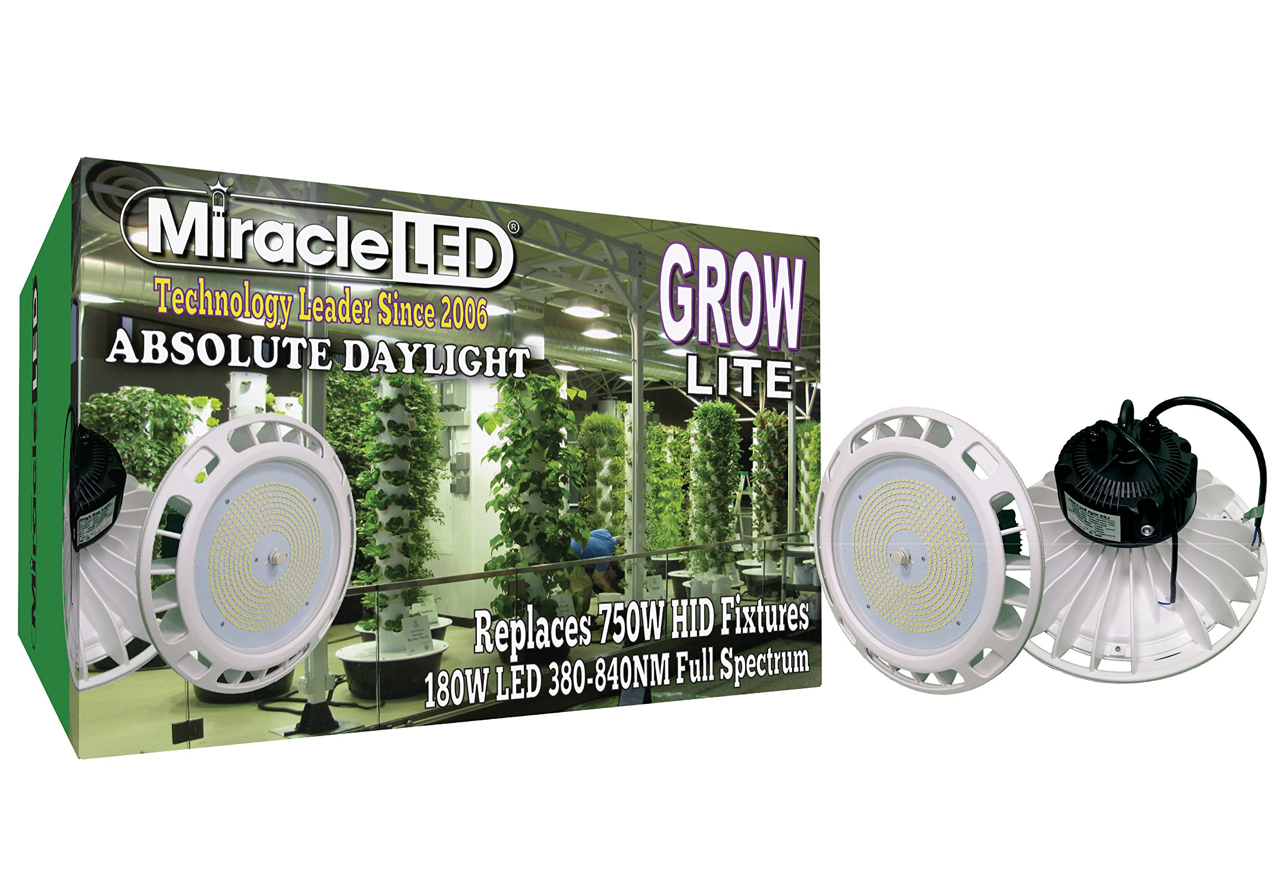 Miracle LED 604338 Spectrum 90-305V 180W High Bay Full Daylight Growlite for Professional Indoor Gardens, White