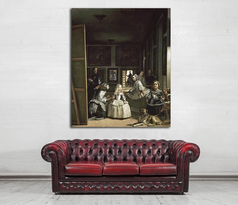 Desconocido Cuadro Lienzo Las Meninas - Familia de Felipe IV - Diego Velazquez 1656 – Varias Medidas - Lienzo de Tela Bastidor de Madera de 3 cm - Impresion Alta resolucion (43, 50)