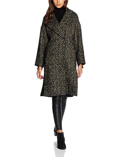 7589cd85c2 Cacharel Women's Manteau Maxi Col Coat, Black (Noir), 10(Size:38 ...
