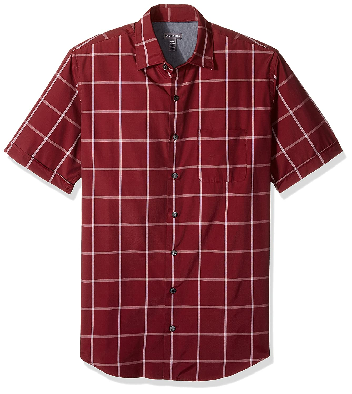 Van Heusen Mens Big and Tall Air Short Sleeve Button Down Poly Rayon Windowpane Shirt